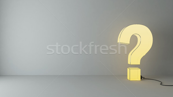 illuminated questions marks in the empty room Stock photo © sedatseven