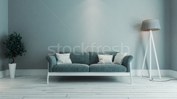 blue color living room interior design idea Stock photo © sedatseven