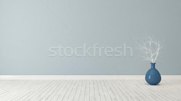 Mavi duvar kuru bitki pot Stok fotoğraf © sedatseven
