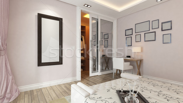A 3d rendering of modern bedroom with pink wall Stock photo © sedatseven