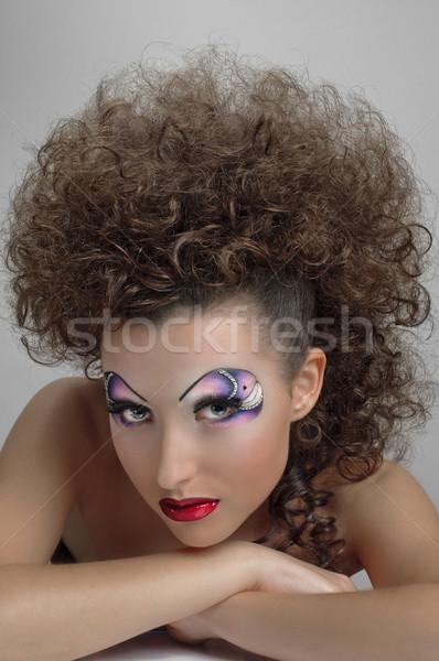 sunburnt curly girl Stock photo © seenad