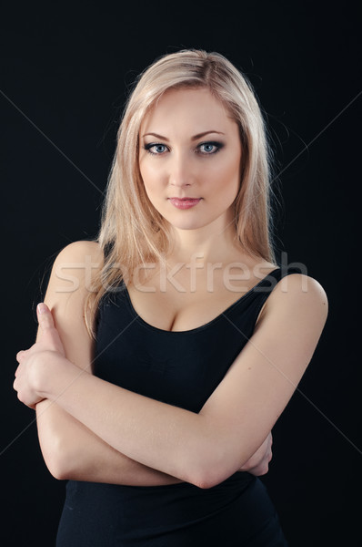 beauty blonde on black Stock photo © seenad