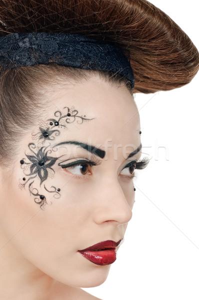 Disc Porträt schöne Mädchen weiß Frau Mode Stock foto © seenad