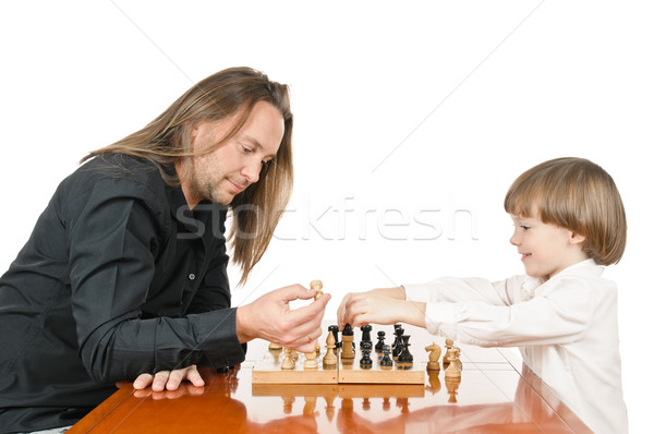 Man and young boy playing Stock photo © seenad