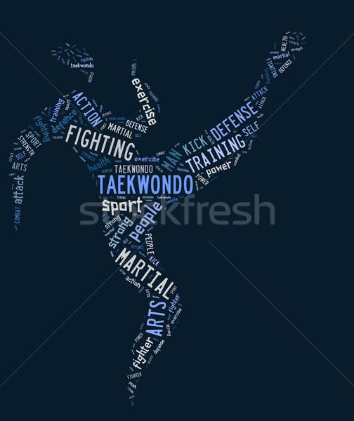 taekwondo pictogram with related wordings on blue background Stock photo © seiksoon