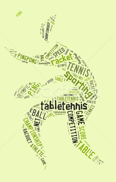 Table tennis pictogram with green words Stock photo © seiksoon