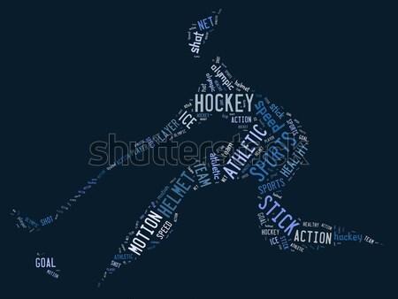 Badminton jogador pictograma azul bola jogo Foto stock © seiksoon