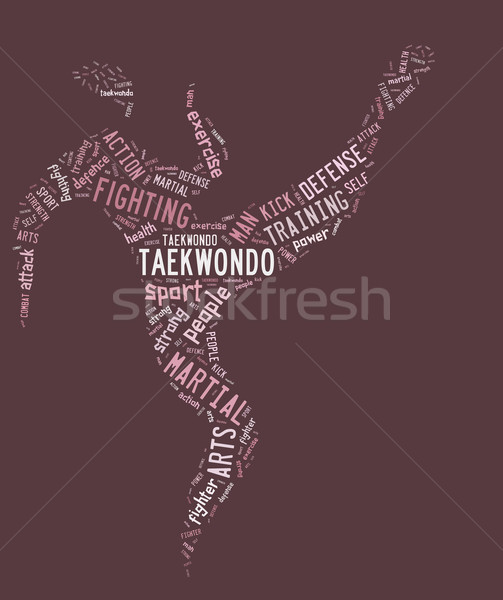 taekwondo pictogram with related wordings on pink background Stock photo © seiksoon
