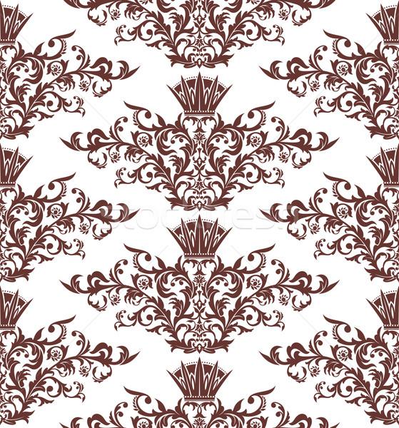 Bezszwowy vintage adamaszek streszczenie liści sztuki Zdjęcia stock © SelenaMay