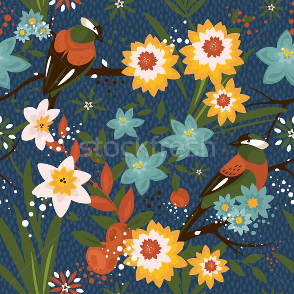 Bağbozumu model kuşlar çiçek Stok fotoğraf © SelenaMay