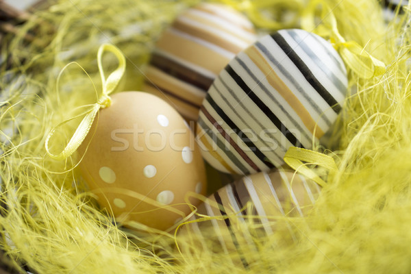 Ostern Grußkarte farbenreich Ostereier Essen Holz Stock foto © SelenaMay