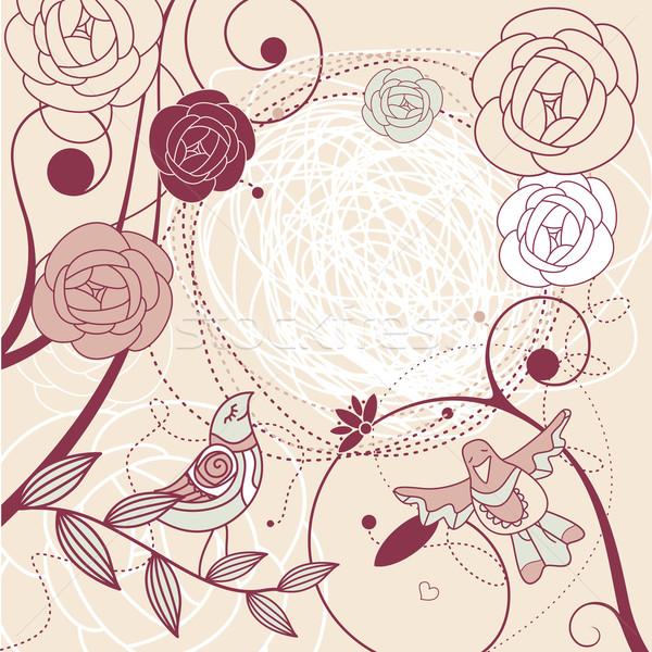 Foto stock: Bonitinho · floral · quadro · livre · lugar · rosa