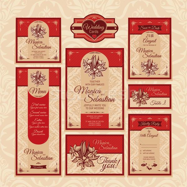 set of floral wedding cards Stock photo © SelenaMay
