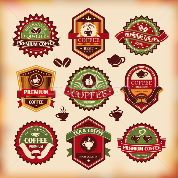 Foto stock: Establecer · vector · vintage · café · negocios