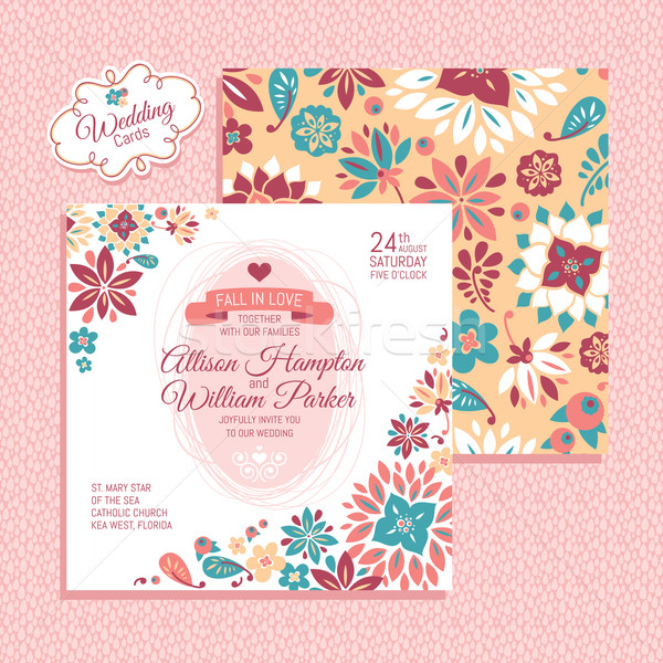 Floral wedding card Stock photo © SelenaMay
