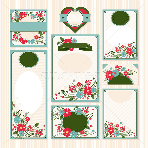 Ayarlamak düğün kartları örnek metin Stok fotoğraf © SelenaMay