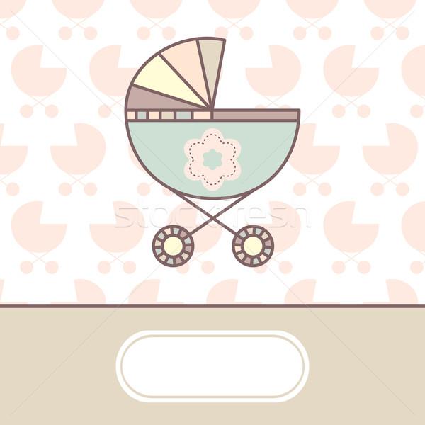 Baby aankomst kaart wieg partij liefde Stockfoto © SelenaMay