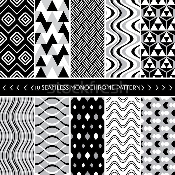 Collection of 10 geometric seamless pattern background Stock photo © SelenaMay