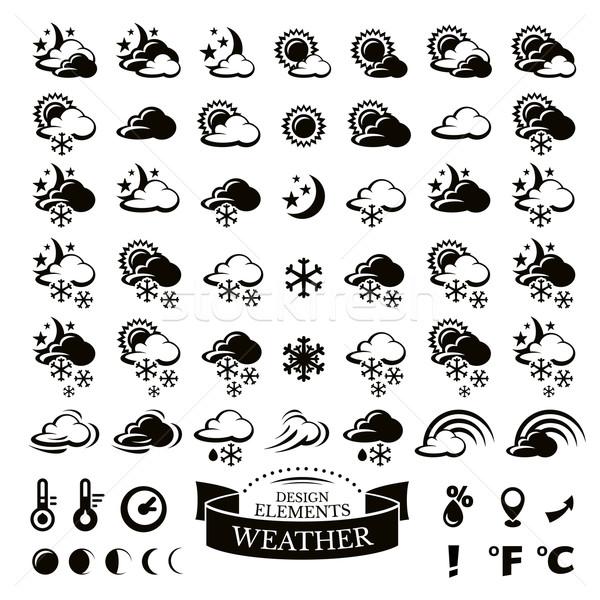 Stok fotoğraf: Toplama · farklı · hava · durumu · simgeler · gökyüzü · kar