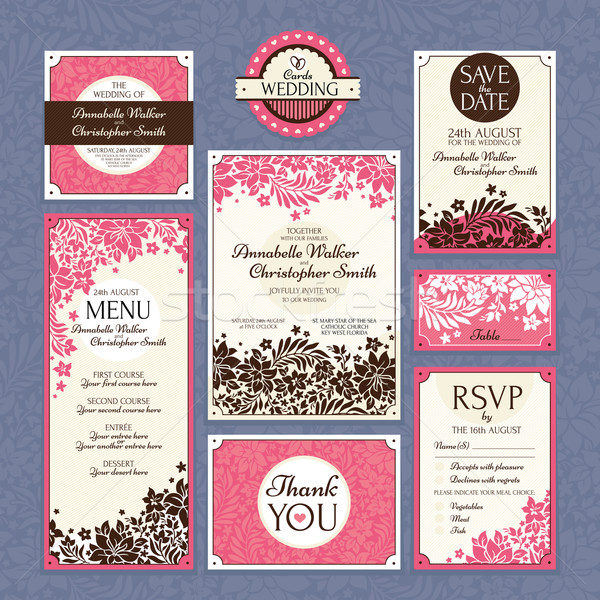 set of floral wedding cards Stock photo © SelenaMay