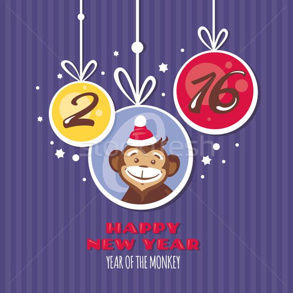 Año nuevo tarjeta de felicitación mono invierno regalo wallpaper Foto stock © SelenaMay