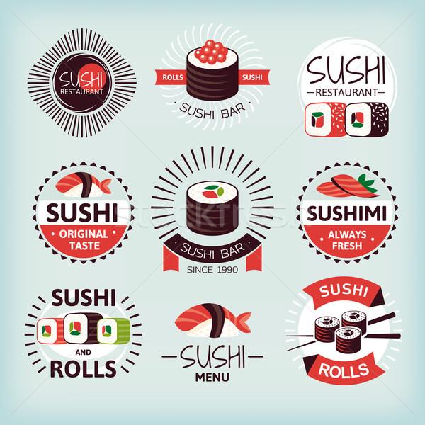 Ayarlamak sushi etiketler kâğıt balık Stok fotoğraf © SelenaMay