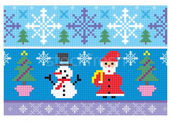 Karácsony hímzés végtelenített illusztráció boldog hó Stock fotó © SelenaMay