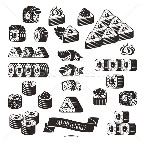 Stockfoto: Ingesteld · zwart · wit · sushi · iconen · vis