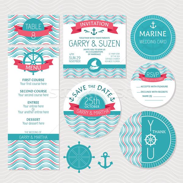 Ayarlamak deniz düğün kartları aile sevmek Stok fotoğraf © SelenaMay