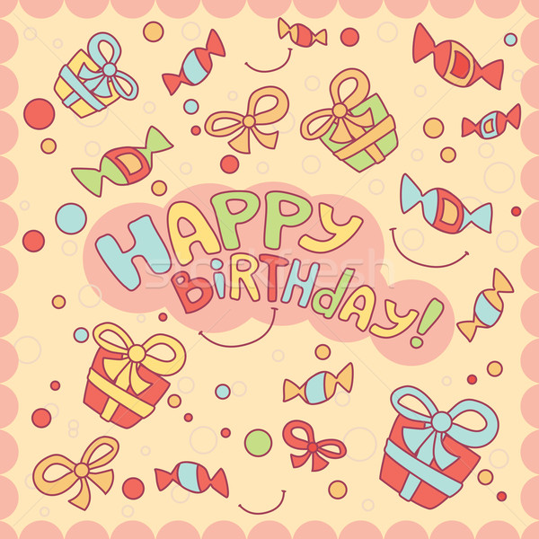 Feliz cumpleaños tarjeta bebé diseno belleza naranja Foto stock © SelenaMay