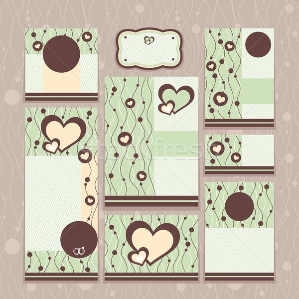 набор цветочный свадьба карт моде лист Сток-фото © SelenaMay