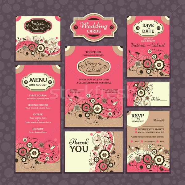 Set of wedding cards Stock photo © SelenaMay