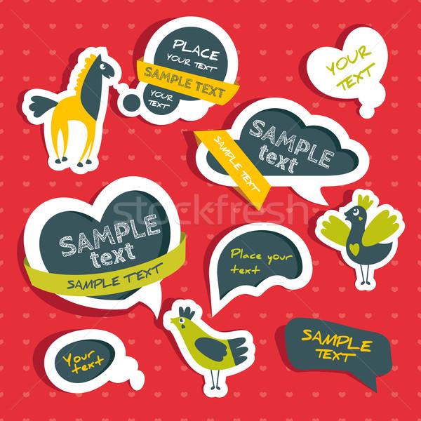 Stockfoto: Ingesteld · cute · vogels · paard · liefde