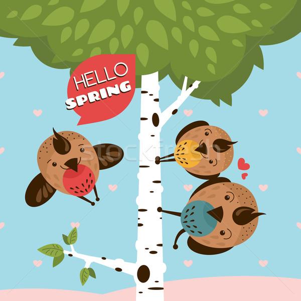Tebrik kartı kuşlar ağaç soyut kalp çerçeve Stok fotoğraf © SelenaMay