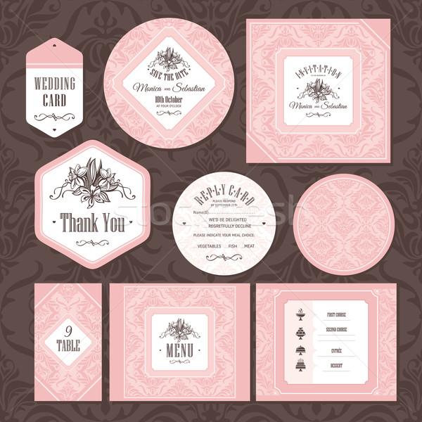 セット フローラル 結婚式 カード ファッション 背景 ストックフォト © SelenaMay