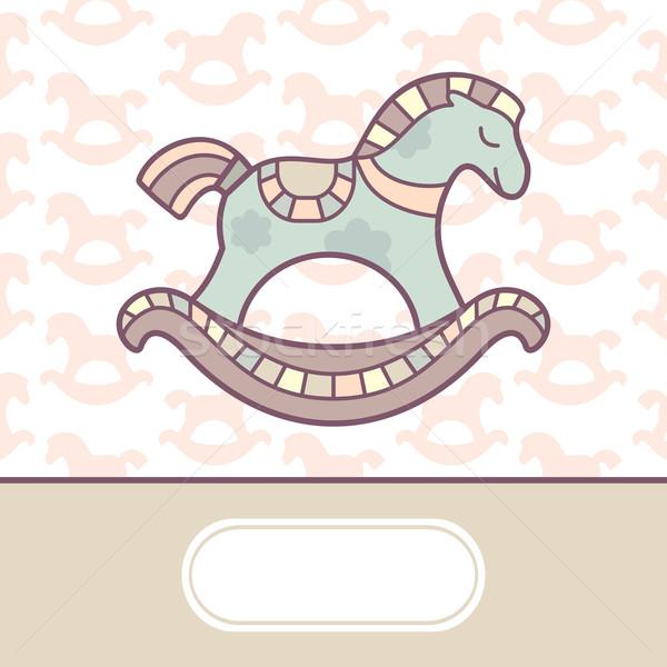 Aranyos baba érkezés kártya égbolt szeretet Stock fotó © SelenaMay