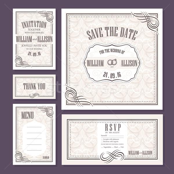 Establecer boda tarjetas invitación de la boda tarjeta Foto stock © SelenaMay