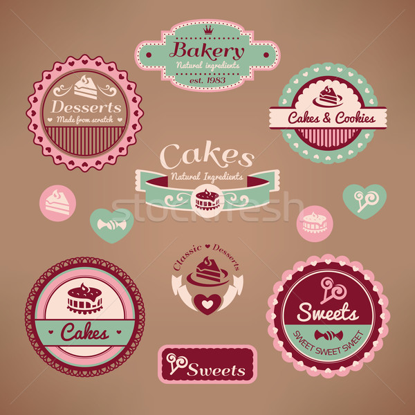 Szett klasszikus pékség címkék étel terv Stock fotó © SelenaMay