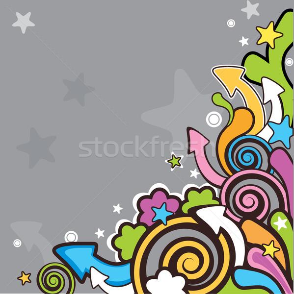 ベクトル 漫画 花 雲 デザイン ストックフォト © SelenaMay