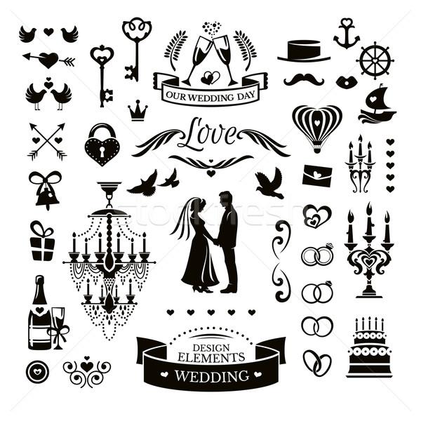 Stock fotó: Esküvő · ikonok · elemek · vektor · gyűjtemény · szív