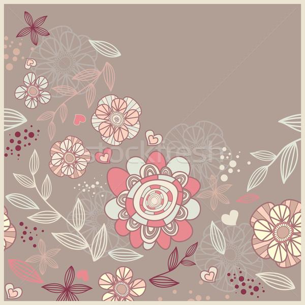 かわいい カード 花 抽象的な 中心 葉 ストックフォト © SelenaMay