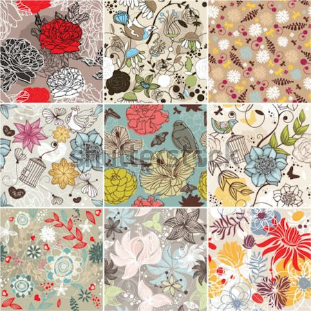 set of seamless floral background Stock photo © SelenaMay