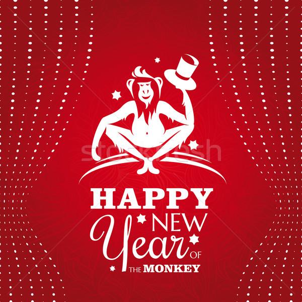 Año nuevo tarjeta de felicitación mono resumen marco invierno Foto stock © SelenaMay