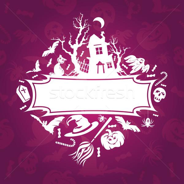 Photo stock: Halloween · cadre · résumé · automne · cartoon · fête