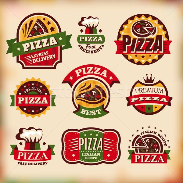 Stok fotoğraf: Ayarlamak · vektör · bağbozumu · pizza · etiketler · soyut
