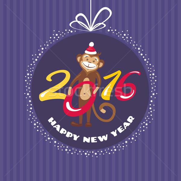 Año nuevo tarjeta de felicitación mono invierno pelota regalo Foto stock © SelenaMay