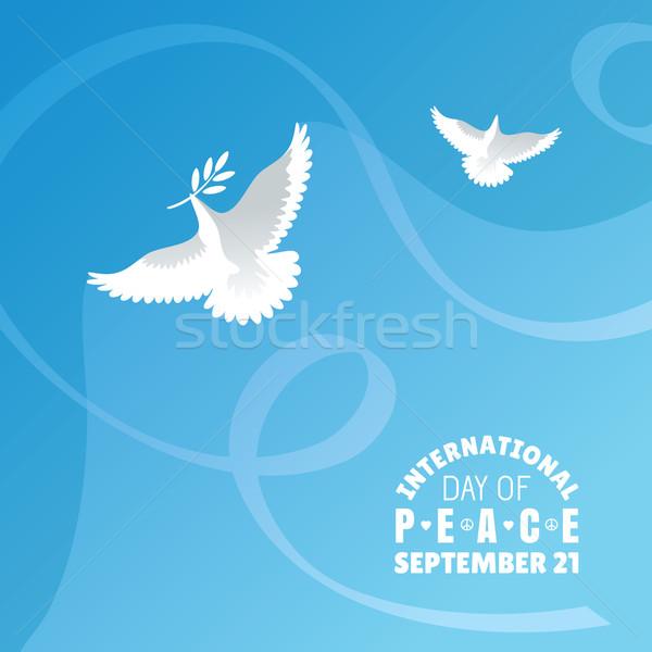 Internationaux jour paix ciel fleur heureux Photo stock © SelenaMay