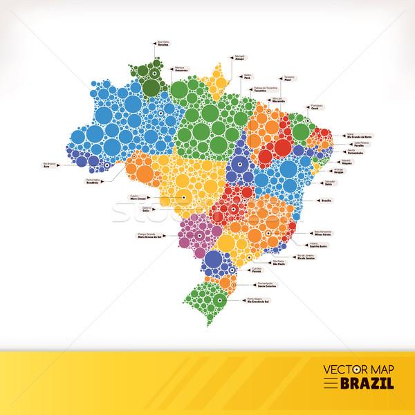 Harita Brezilya ev web bayrak renk Stok fotoğraf © SelenaMay