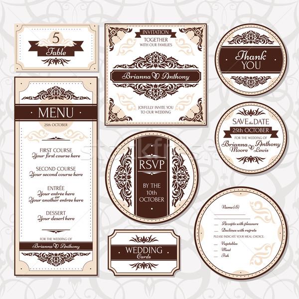 セット フローラル 結婚式 カード 花 家族 ストックフォト © SelenaMay