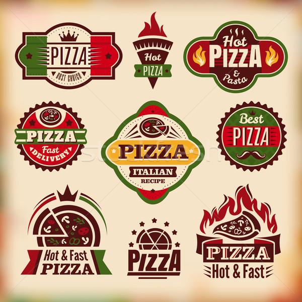 Ayarlamak vektör bağbozumu pizza etiketler soyut Stok fotoğraf © SelenaMay